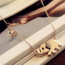 TOMTOSH 2016 New Hot Cute Elephant Family walk-air design women charming crystal chain necklace Chocker necklace