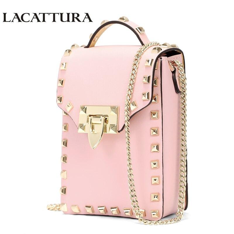 LACATTURA Luxury Handbag Flap Mini Bag Women Designer Chain Leather Shoulder Bags Rivet Punk Crossbody Chutch Lady Messenger Bag<br>