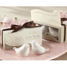 PHFU 1 Set of Love Birds Ceramic Salt and Pepper Shakers - White(China)