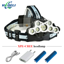super bright led headlamp 9 CREE XML T6 LED headlight usb rechargeable head lamp 18650 high power led torch head flashlight(China)