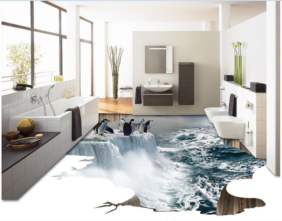 3d pvc flooring custom photo bedroom waterproof floor Ice waterfall penguins painting 3d wall murals wallpaper for living room<br>