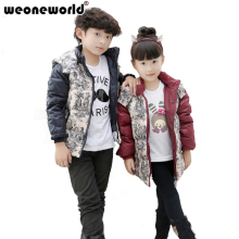WEONEWORLD 2017 Children Winter Jacket Coat Print Thickening Warm Boys Girls Outerwear 80% White Duck Down Padded Kids Coat