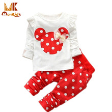 Monkids Baby Clothing Sets Retail Children Suits Children Girls Clothing Sets Kids Clothes Girl Baby Rabbit Sleeve Minnie Suits