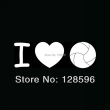 I LOVE VOLLEYBALL Silhouette Sticker Vinyl for Car Rear Windshield Decal Team Spike Serve Set Sand Beach(China)