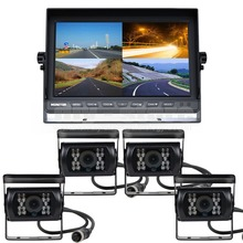 DIYSECUR 10Inch Split QUAD Car Monitor + 4 x CCD Rear View Camera Waterproof for Truck Bus Video Surveillance System