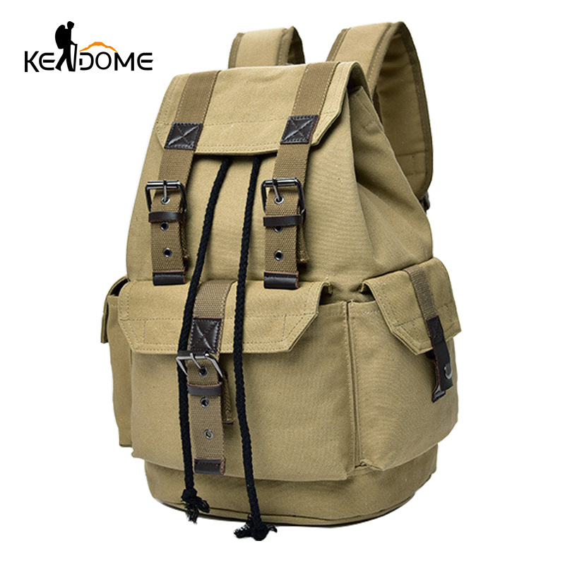 Mens Army Combat Military Green Rucksack Travel Day Bag Pack US Canvas Backpack