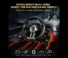 PXN V3II game steering wheel USB wired Dual motors vibration wheel 180 degree steering for PC game and online game(China)