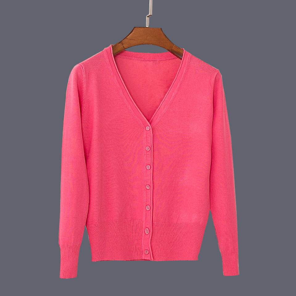 17 New Top Selling Spring Woman Sweater Tops Fashion Knitted Long Sleeve V-Neck Solid Loose Size Casual Woman Cardigan Sweater 26