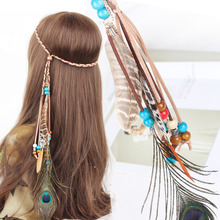 New Women Color Beads Headband Bohemian Indian Peacock Feathers Leather Pendants Hair Accessories Hair Band Party  Jewelry A5008