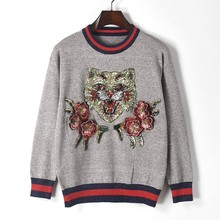 New 2017 autumn europe street style women bright trim knit sweater animal sequins 3d flower embroidery patch knitwear pullovers(China)