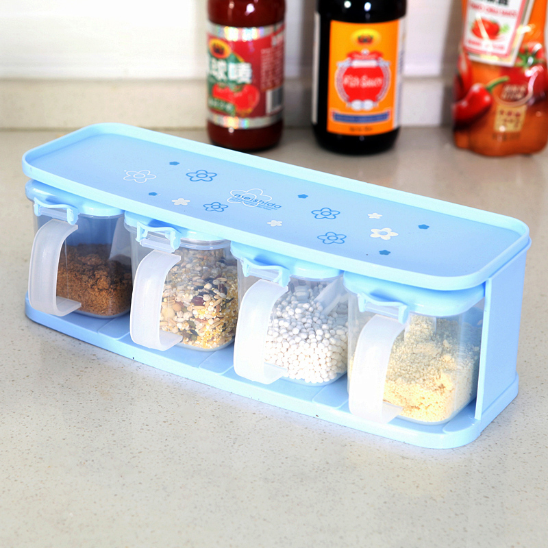 Dishes For Spices Plastic Spice Jars Stocked Drawer Type Seasoning Box Fox Knife Tableware Storage With Spoon 4 Pc/set Cans-in Storage Bottles u0026 Jars from ... & Dishes For Spices Plastic Spice Jars Stocked Drawer Type Seasoning ...