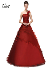 Formal Prom Dresses Edaier Sexy One Shoulder Organza Fashion Young Girl Cocktail Dresses 2017 Fashion Red Robe Tea Dresses