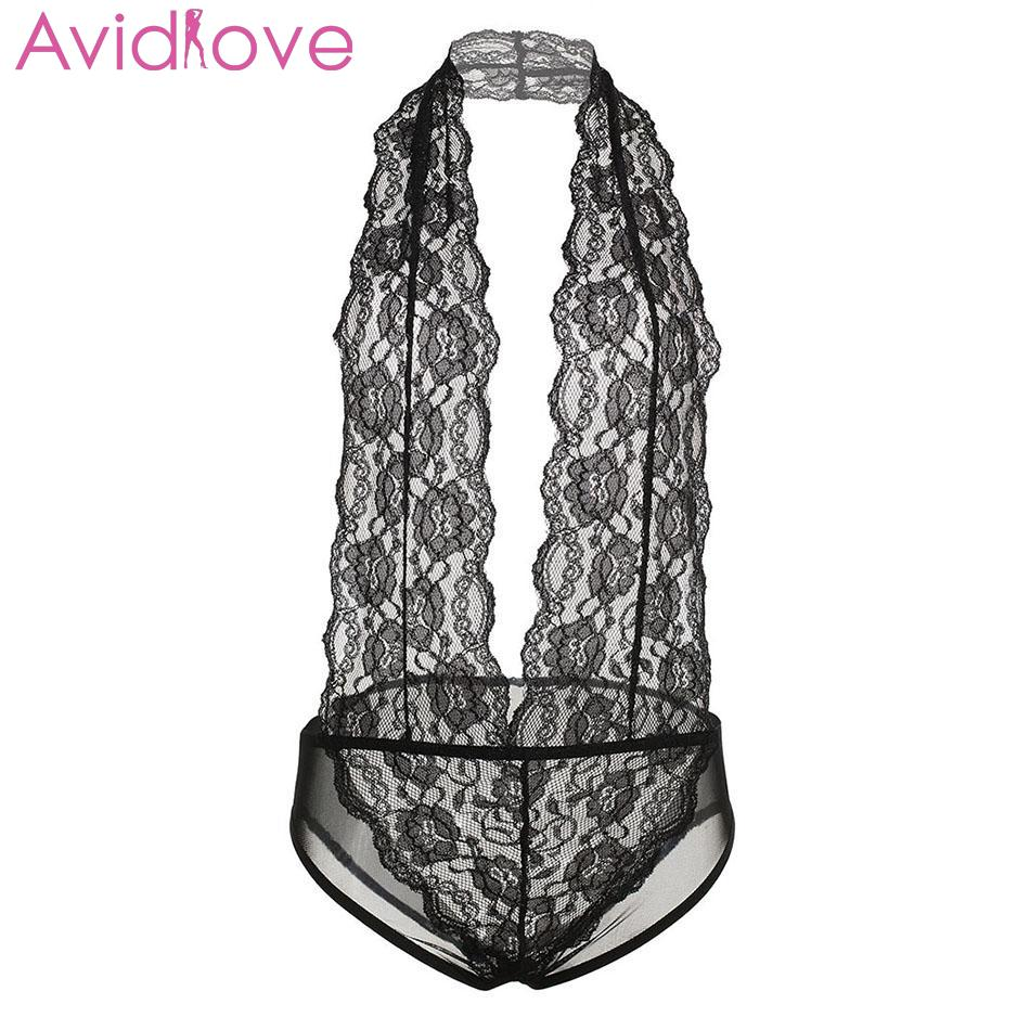 Avidlove Nightwear Lingerie Erotic Lace Halter Sexy Underwear Sleepwear Teddies Floral Women Bodystocking One Backless Hollow