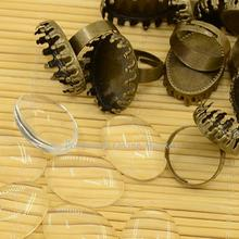 DIY Antique Bronze Brass Pad Ring Making, with Oval Tray and Transparent Clear Glass Cabochons, Ring: 17mm; Glass: 18x25x5.4mm