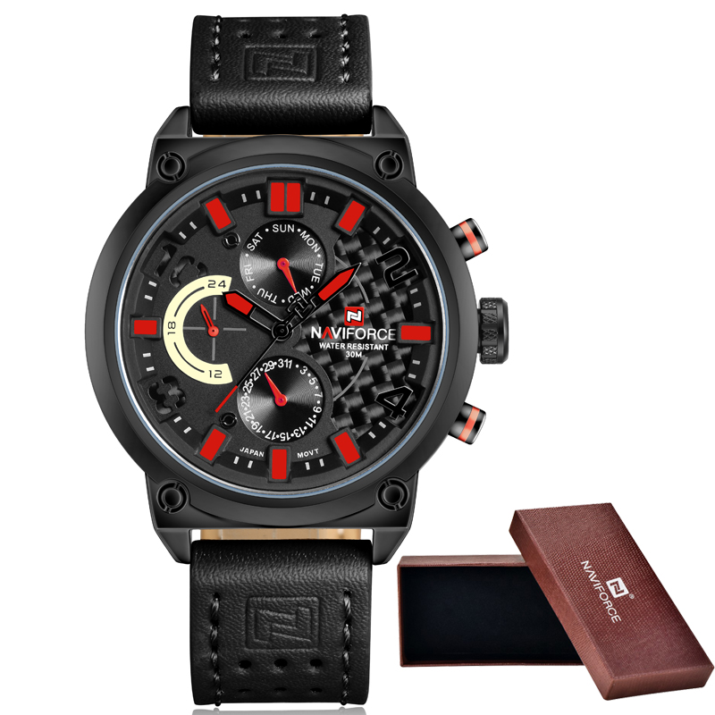 2016 NAVIFORCE Watches Men Luxury Brand Fashion Casual Quartz Wrist watches Leather Waterproof Sports Watch Man Clock<br>