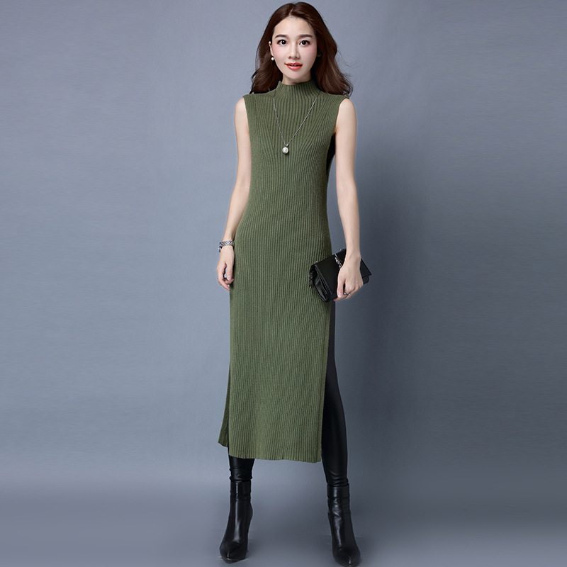 2018 Fall Winter Women Stretchy Knitted Sweater Dresses Half Turtleneck Sleeveless Skinny Split Sexy Slim DressÎäåæäà è àêñåññóàðû<br><br>