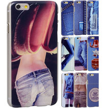 Unique 3D vision cowboy jeans sexy ladys PC Hard plastic Case for iPhone 6 4.7'' protector skin shell back Cover free shipping