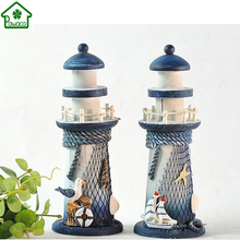 New Arrived Wood Wooden Lighthouse Beacon Tower Beach Starfish Shell Home Decorative Craft Ornament Figurine Mediterranean Style(China)