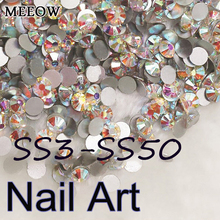 SS3-SS50 Crystal AB Nail Art Rhinestones With Round Flatback For DIY Nails Art Cell Phone And Wedding Decoration(China)