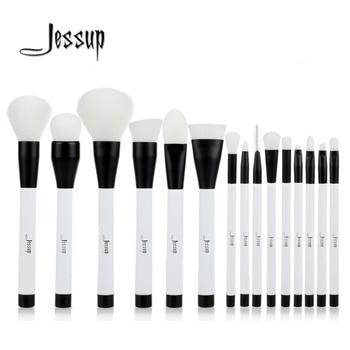 Jessup 15 pcs Noir/Blanc Maquillage Pinceaux Poudre Fondation Fard À Paupières Eyeliner Contour des Lèvres Anti-cernes Tache Brosse Outil