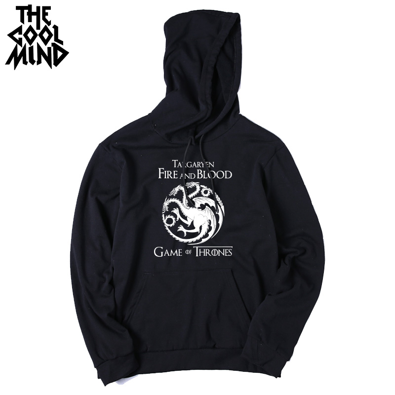 THE COOLMIND Top quality cotton blend game of thrones men hoodies casual winter is coming house of stark men sweatshirt with hat 10