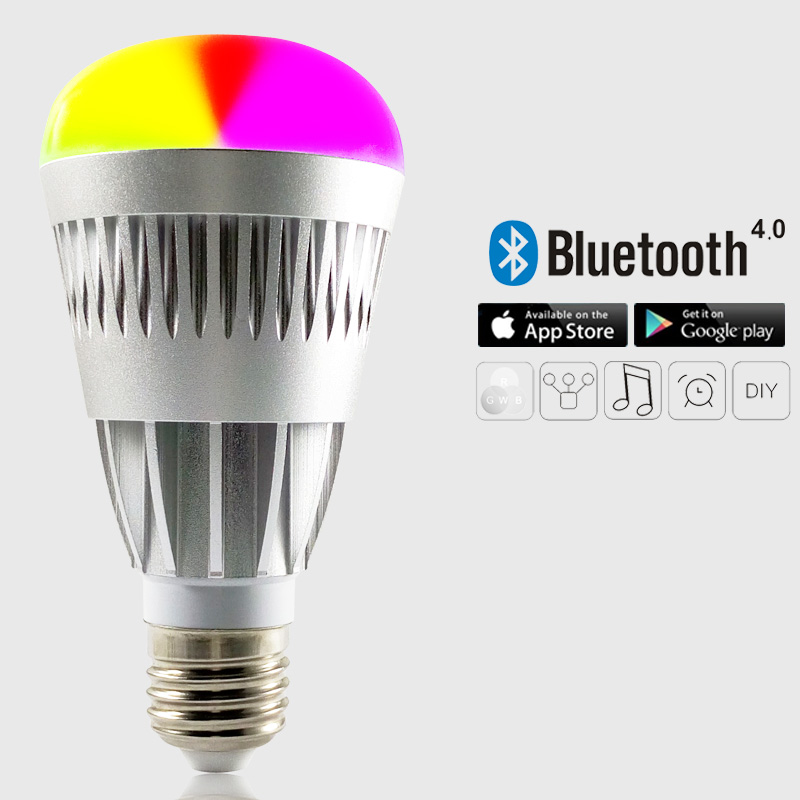 AC100V-AC240V E27 10W RGBW led bulb Bluetooth Wireless remote 4.0 smart dimmable lighting led light  for IOS Android<br>