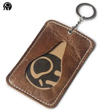 Wholesale Good Leather Thin Bank Card Case Quality ID Pocket Mini Card Wallet Men Small Key Ring Bus Card Holder Cash Cards Pack(China)