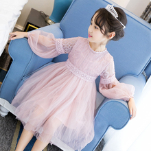 2017New Summer Costume Girls Princess Dress Children's Evening Clothing Kids Chiffon Lace Dresses Baby Girl Party Pearl Dress(China)