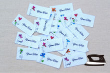 42  Watercolor Floral Logo Labels - Organic Cotton Personalized Tags with Calligraphy Script