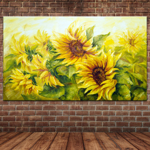 Hand Made Textured Impressionist Sunflowers Oil Painting on Canvas Modern Artwork for Home Decoration (No frame )