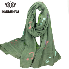 [DARIAROVA]200*115CM American Fashion Scarf Muffler Musical Note Cotton Scarf Women Autumn Warm Muffler Embroidered Shawl Wrap(China)