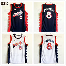 2017 ECTIC New Scottie Pippen #8 USA Retro Throwback 100% Stitched White Basketball Jersey Sewn Camisa Embroidery(China)