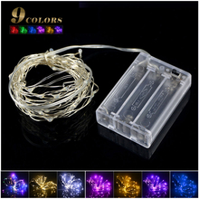 New LED strip light 2m 20leds AA Battery Powered RGB Copper Wire Holiday String lighting For Fairy Christmas Trees Party Decor(China)