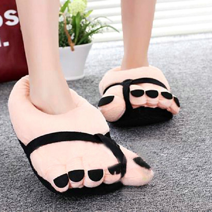 Pretty Funny Winter Indoor Toe Big Feet Warm Soft Plush Slippers Nice Slippers Woman<br><br>Aliexpress