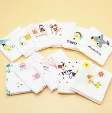 Freeshipping10pcs Children Cartoon Hankies 100% Cotton Handkerchiefs For Kids , Squares Boys Girls Hankerchiefs(China)