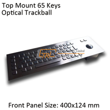 64 keys Top Panel Mount stainless keyboard with Optical trackball, metallic industrial keyboard, standard kiosk keyboard