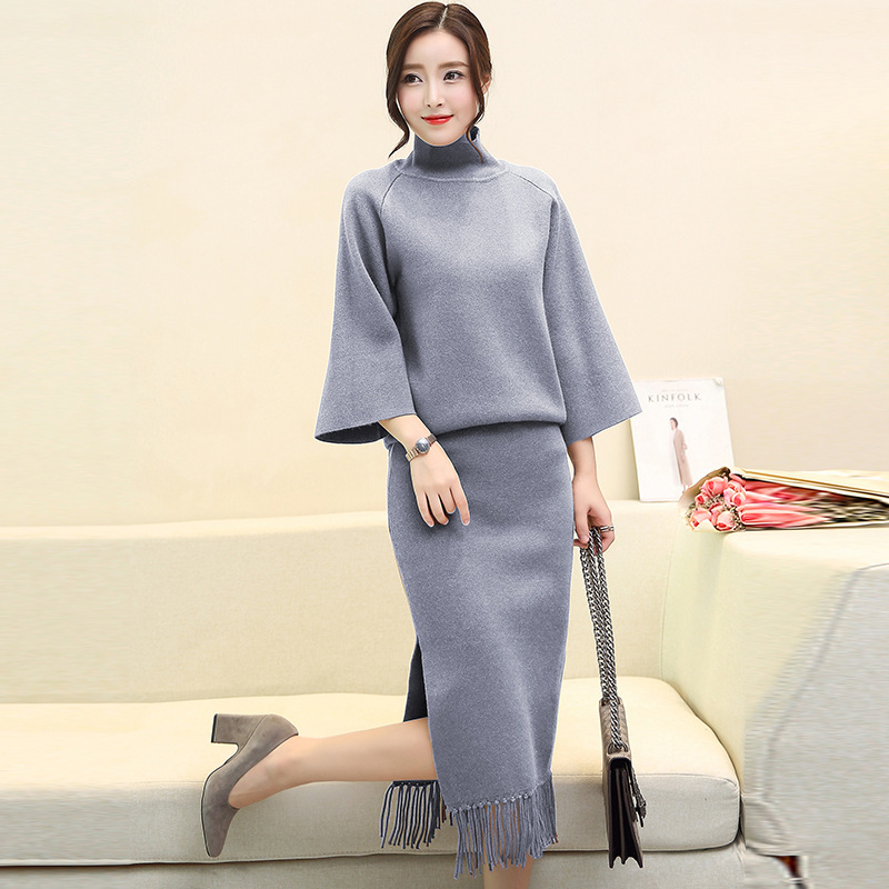 4-Colors-Sets-Knitted-Two-Piece-Suit-Sweater-High-Waist-Skirt-Two-Piece-Sets2017-Horn-Sleeve (1)