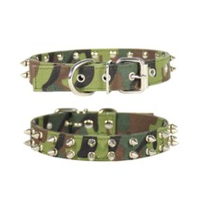 (1 piece/Lot) size L#2.5*36-46cm camouflage Canvas material spikes  dog collar pet collar