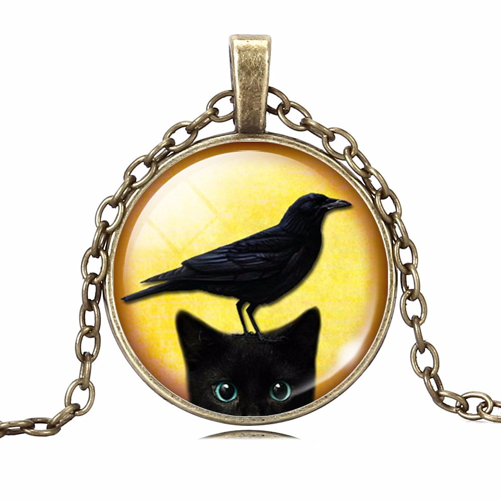 UNIQUE NECKLACE GLASS CABOCHON-SILVER BRONZE CHAIN NECKLACE BLACK CAT PICTURE VINTAGE PENDANT NECKLACE-Cat Jewelry-Free Shipping UNIQUE NECKLACE GLASS CABOCHON-SILVER BRONZE CHAIN NECKLACE BLACK CAT PICTURE VINTAGE PENDANT NECKLACE-Cat Jewelry-Free Shipping HTB1TkeNMpXXXXc8XVXXq6xXFXXXA