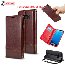 For Samsung S8 Case Genuine Leather Magnetic Flip Wallet Case Cover For Samsung Galaxy S8 S 8 Plus Phone with Card Cover Coque