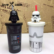 Star wars Set Coffee cup with lid and a straw Personality White Black Knight Water Cup milk mug children's favor dinnerware(China)
