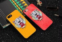 Luxury cowboy Embroidery Tiger head pattern hard phone cover Case For apple iPhone 6 6S 7 Plus