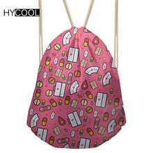113ad56674a HYCOOL Lady Bags For Sports Fitness Gym Drawstring Sack Cartoon Cute Nurse  Printed Women Outdoor Running Bags Teens Train Pack