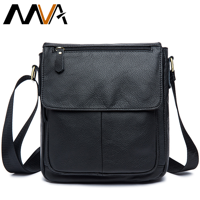 MVA Men's Leather bag Genuine men Bag male Shoulder Crossbody Bags Casual Handbags Small Flap Men Messenger 819  -  Factory Sell store store
