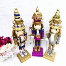 30cm Nutcracker Character Christmas wooden palace soldier home decoration hand-painted walnut Kings artesanato(China)