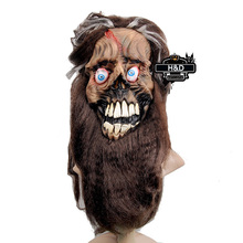 Long Beard Hair Latex Ghost Mask Masquerade Halloween Cosplay Adult Full Face Scary Halloween Props Party Costume Fancy Dress(China)