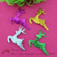 300pcs Metallic Fabric Christmas Reindeer Applique Glitter Deer Patches for Xmas Party Decoration,Scrapbooking,Headband Supplies
