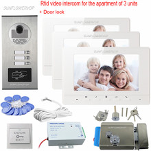 "Rfid Video Intercoms Electronic Doorman With Camera 7"" Color Monitor Doorbell For An Apartment Of 3 Units Doorphone With Lock(China)"