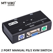 MT-Viki 2 Port VGA KVM Switch PS/2 Mouse Keyboard Console Manual Button Press Select With Original Cable High Resolution 260SL