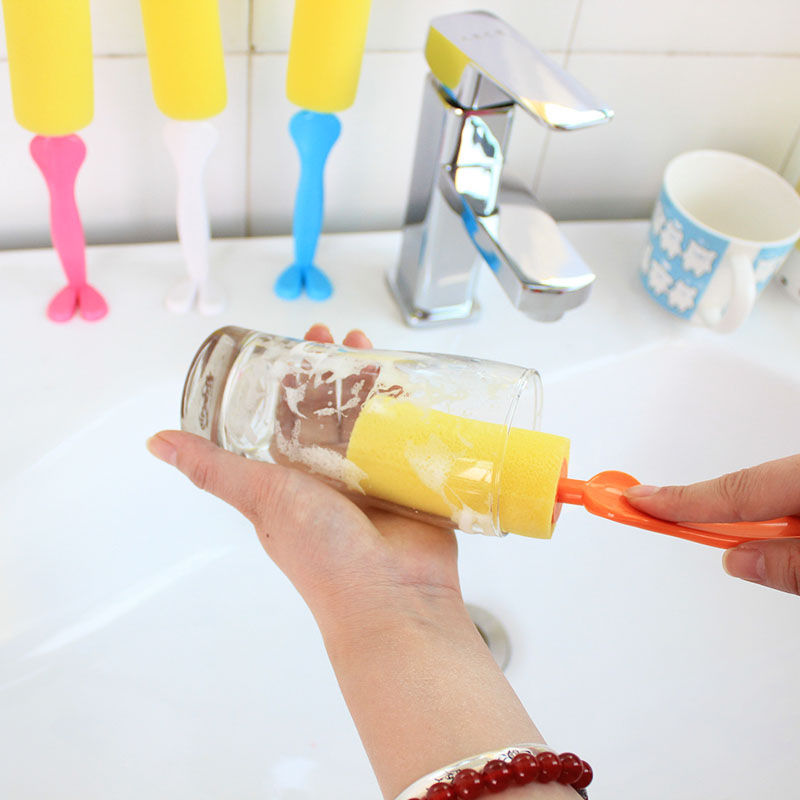 1Pcs Kitchen Washing Brush Cleaning Tools Color Random Cartoon Sponge Glass Bottle Cup Cleaner good quality new hot sell
